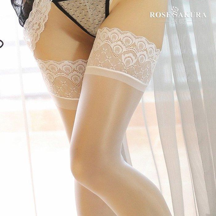 MIX style SHOP【S-399】矽膠防滑❤15D油亮孔雀紋蕾絲花邊彈性長統絲襪~(5色)