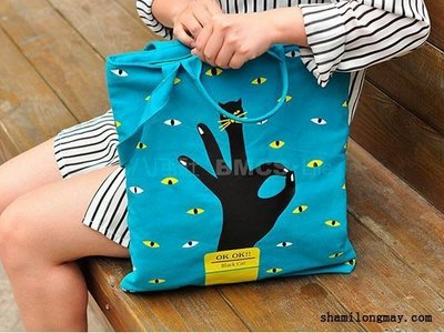 HAPPY+【V5163】手勢系列帆布單肩包 創意女生單肩包 卡通大包 隨身包