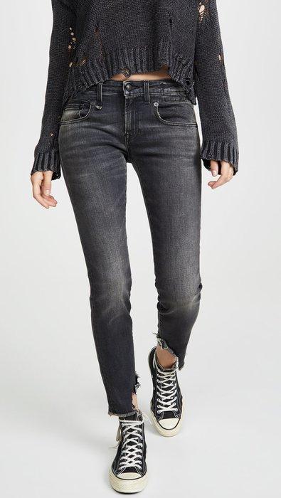 CC Collection 代購 R13 19FW 秋冬 Boy 黑灰色直筒不對稱毛邊直筒牛仔褲