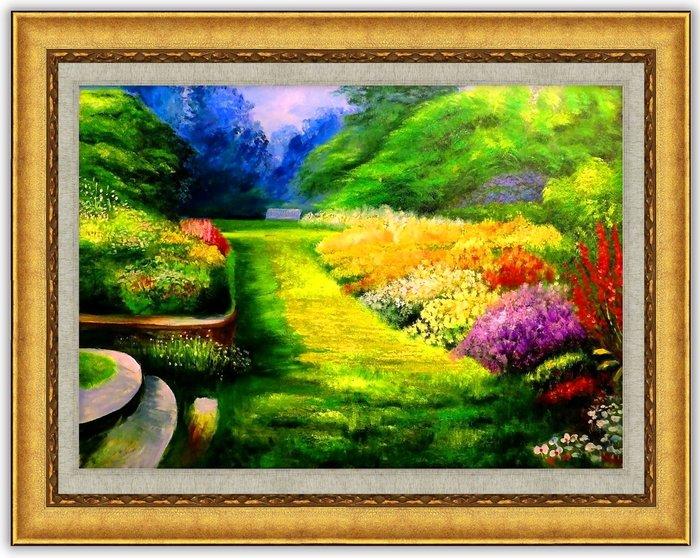 {Art city}手繪創作油畫~盛開的花園~(實品拍攝 )已完作品 台灣畫家