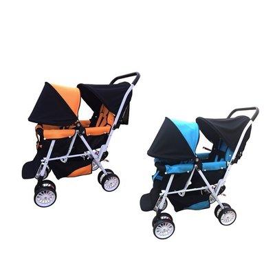 優兒堡-Kooma雙人嬰兒推車(活力橘/天空藍)