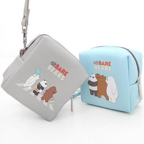 ♀高麗妹♀韓國 We BARE BEARS《熊熊遇見你》CUBE POUCH ㄇ型拉鍊方包/零錢包/收納包(天藍色)現貨