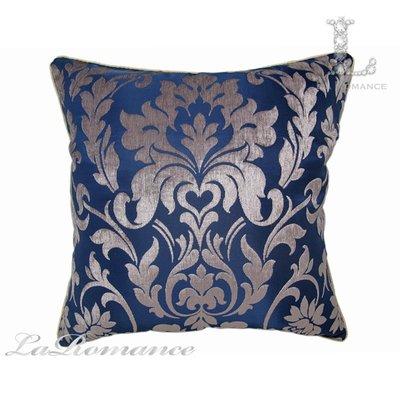 【芮洛蔓 La Romance】古典風情系列寶藍色雪尼爾緹花圖騰抱枕 / 靠枕 / 靠墊 / 方枕