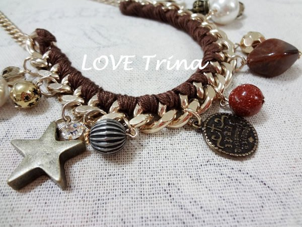 【Love Trina】韓國進口。正韓。4983-0525 歐美風復古垂飾項鍊。飾品 (2色)