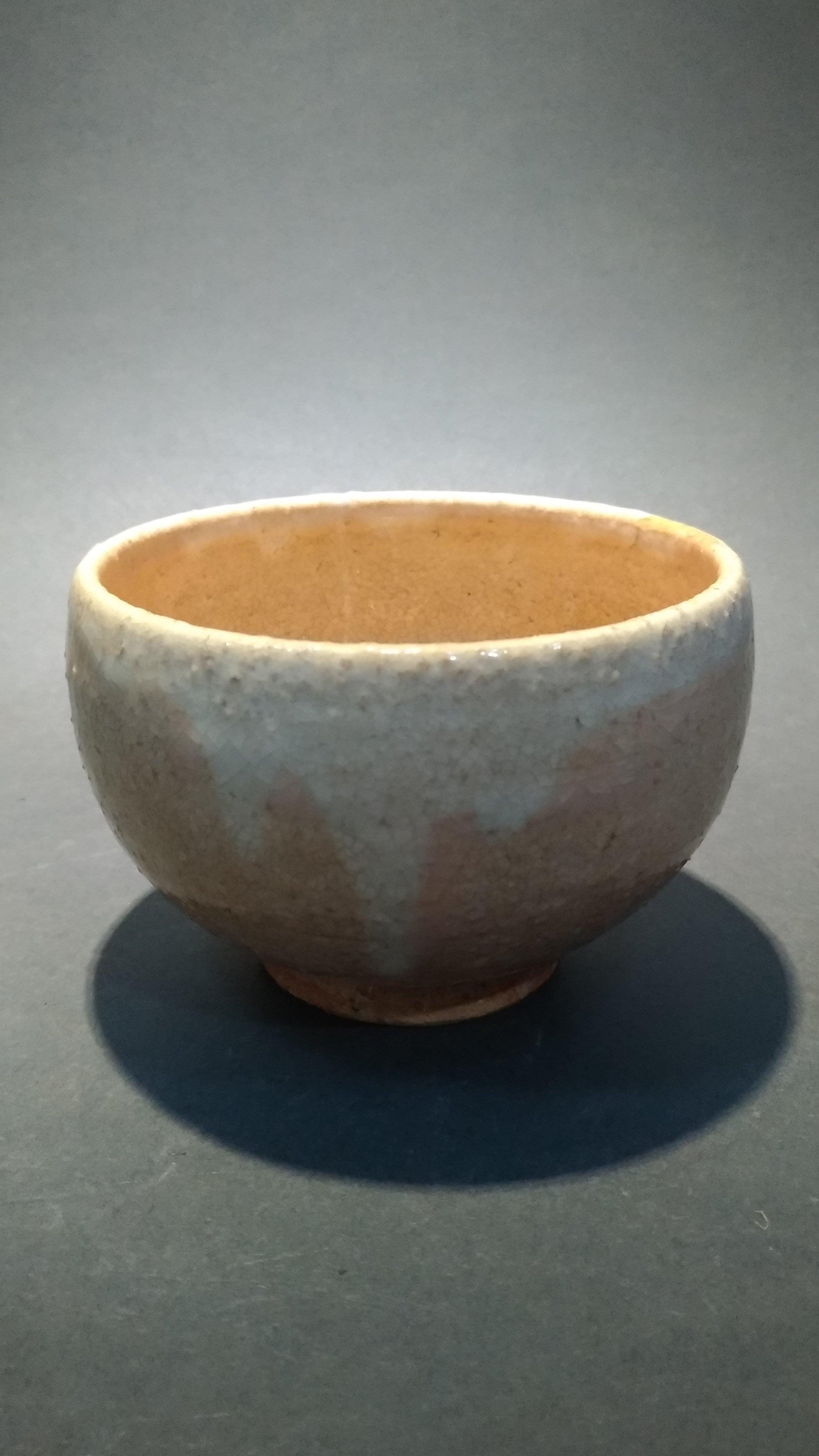 ☆清沁苑☆日本茶道具~在銘 日本職人手作 膚色釉茶碗~d553//特價品//