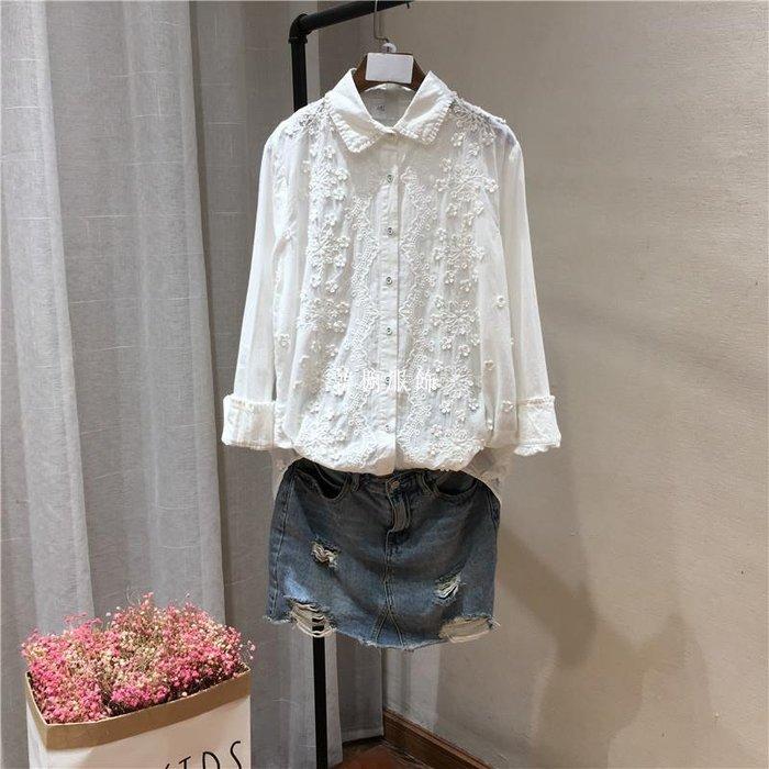 韓櫥服飾春季上衣女 正韓襯衫女設計感很仙的襯衣體恤2019寬松白衣服8966