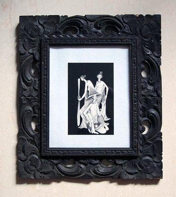 類水彩畫水墨畫插畫素描東南亞藝品原木雕相框掛畫估為峇里島或印尼藝術畫作家飾品擺飾b【心生活美學】