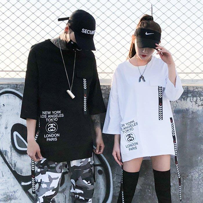『潮范』 S2 潮男圓領印花圖案T 七分袖T恤 情侶寬鬆街頭國潮休閒潮T 棉質TNRG10