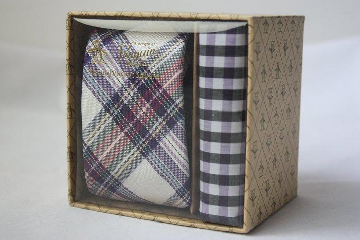 【Penguin 美國品牌】100%全新正品 格紋領帶-淺紫色【窄版6cm】*領帶+純棉手帕+原廠盒*NEW PE08