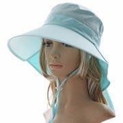 日本防曬抗UV遮陽帽 寬大帽沿 脖子也可防曬 後綁蝴蝶結 日本涼感透氣遮陽帽
