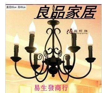 【易生發商行】地中海歐式美式蠟燭鐵藝吊燈 簡約田園客廳餐廳臥室 復古 特價F6376