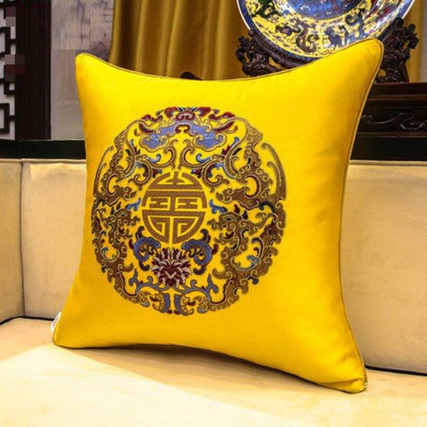 抱枕椅枕中式中國風古典 刺繡沙發靠背床頭 大號腰枕含芯靠枕靠墊(45x45cm含芯)_☆找好物FINDGOODS☆