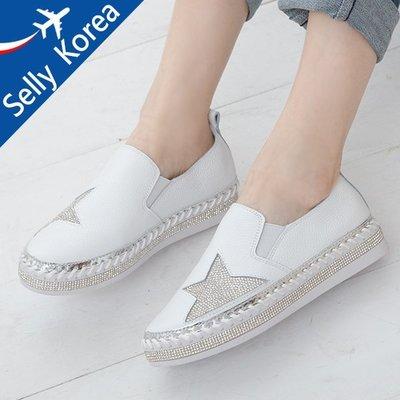 正韓 牛皮 五角星 水鑽  小白鞋 懶人鞋 厚底鞋-Selly-沙粒-(KR204)2色