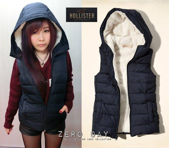 【零時差美國時尚網】HCO Hollister co.Point Mugu Vest熊寶寶毛內裡保暖連帽背心-深藍色