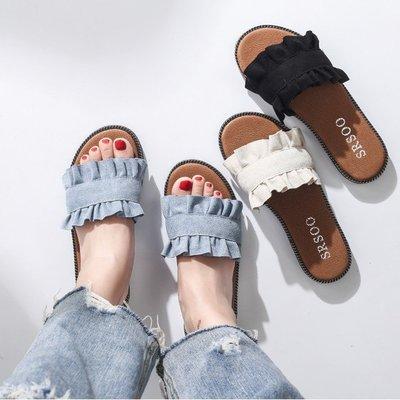 甜美韓版時尚木耳花邊設計一字拖鞋夏季文藝氣質平跟女鞋涼拖