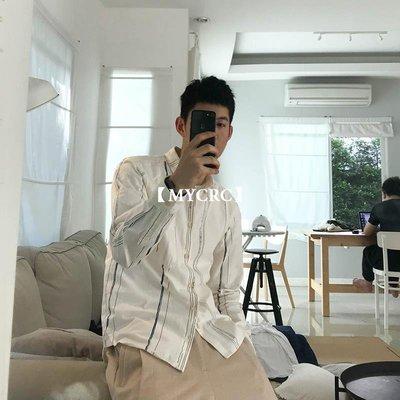 【MYCRC】含運 幾立 老葉也在穿的條紋襯衫 修身方領日系白色長袖休閑襯衫男