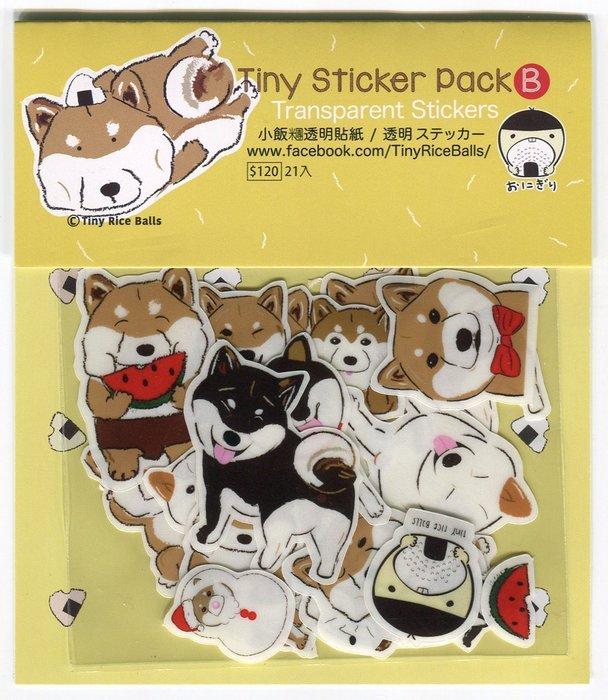小飯糰 柴犬透明貼紙包 共21枚 B款 手機殼貼紙