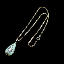 『保真』老玉市場-創匯時期925純銀陶燒花卉紋項鍊墜飾