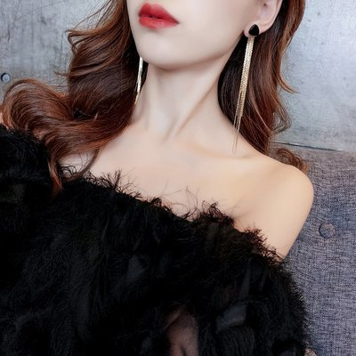FEI日韓代購~性感潮人長款流蘇耳環女氣質韓國個性百搭網紅夸張耳飾耳釘耳墜