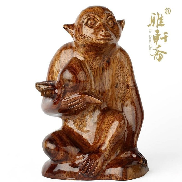 T木雕猴 紅木雕刻工藝品擺件 祝壽禮品猴子獻桃 大號生肖猴子