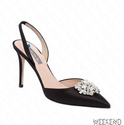 【WEEKEND】 Sarah Jessica Parker SJP Sana 緞面 鑲鑽 高跟鞋 露跟鞋 黑色