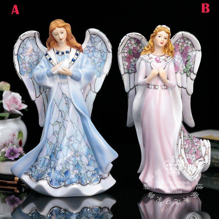 【吉事達】英國 Bradex 2005年限量鑲寶石瓷偶守護祈福天使 結婚家居擺飾節日賀禮
