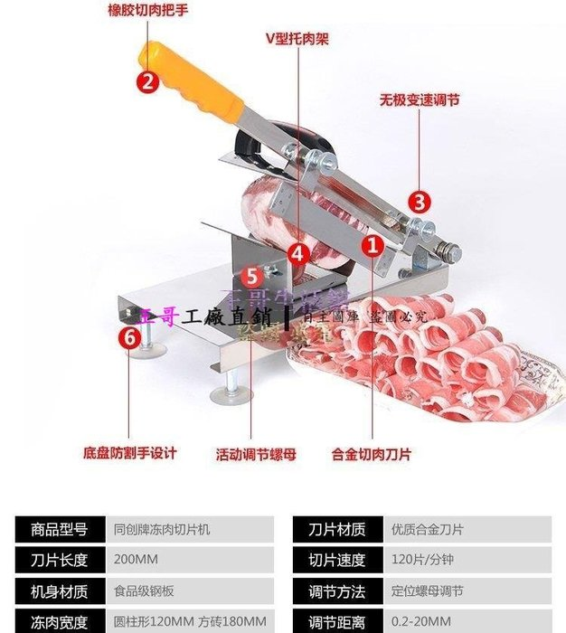 【王哥】限時優惠不鏽鋼切片機切肉機切菜機切肉片機切凍肉送備用刀片【DX-2010_2010】