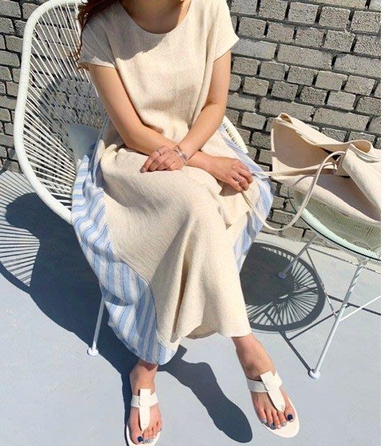 美麗喵。現貨。韓國製 短袖棉麻 拼接後條紋 下A字長洋裝