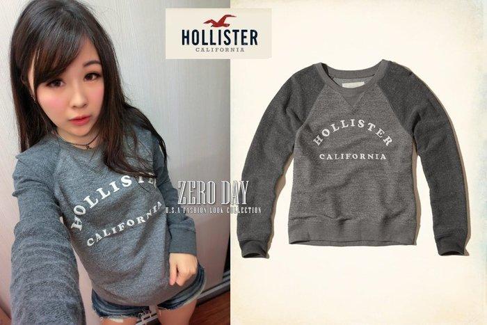 零時差美國時尚網Hollister Reverse Terry Graphic Crew Sweatshirt大學T灰色