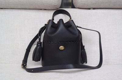 【Woodbury Outlet Coach 旗艦館】COACH 651 全皮抽繩水桶包 單肩斜跨包美國代購100%正品