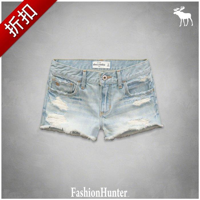 折扣【FashionHunter.cc】牛仔熱褲 a&f high rise shorts 刺繡麋鹿 鬚邊褲腳 HCO