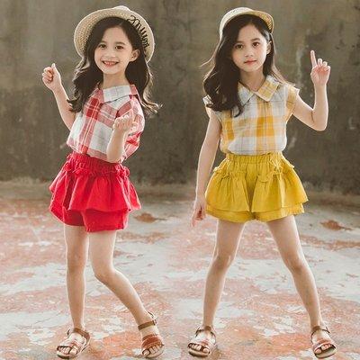 •*~ 辣媽咪衣飾小舖 ~*•❤童裝系列 📣Y550199韓版大童夏季甜美小女孩翻領短袖上衣+裙褲二件套套裝