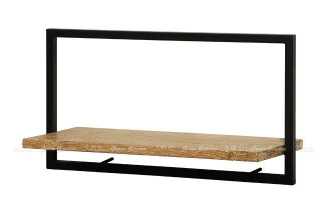 柚木鐵件 日字組合壁架A(W65)【大綠地家具】100%印尼柚木實木/工業風/置物架/DIY組裝