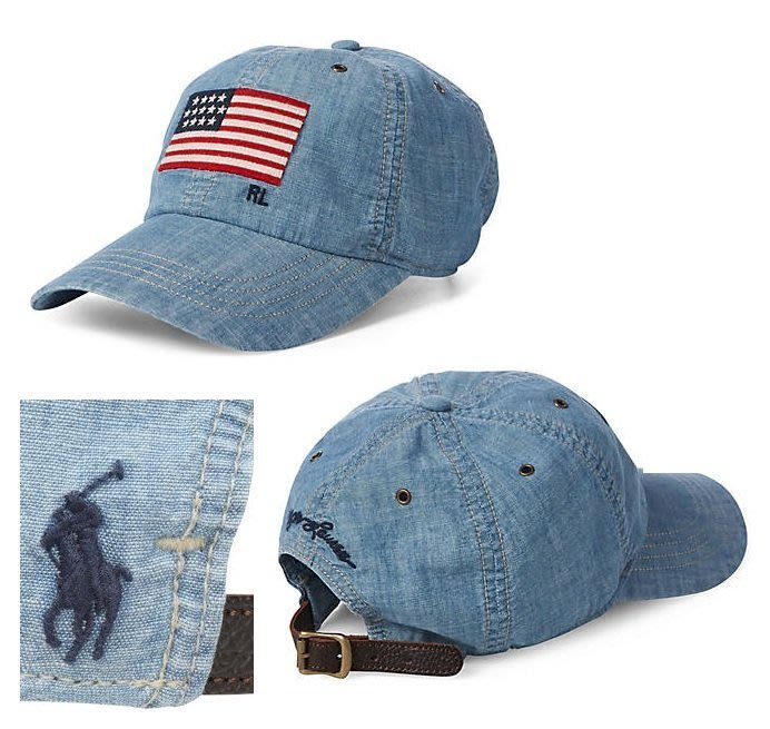 Polo Ralph Lauren 前國旗 小馬 棒球帽 老帽 淺牛仔色