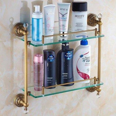 【益華潔具】玻璃置物架 復古 化妝臺 雙層帶雙桿 仿古衛生間浴室 歐式全銅fleap衛浴競標品