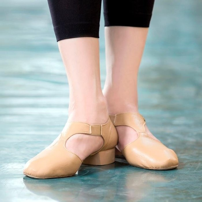 DH舞蹈鞋女軟底練功鞋真皮成人爵士舞鞋芭蕾舞鞋形體鞋帶跟教師鞋