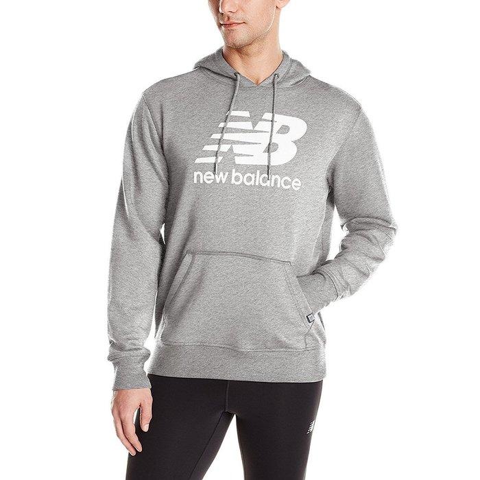 美國百分百【全新真品】New Balance 連帽 上衣 帽T 紐巴倫 復古運動 T恤 長袖 麻灰 S M號 I553