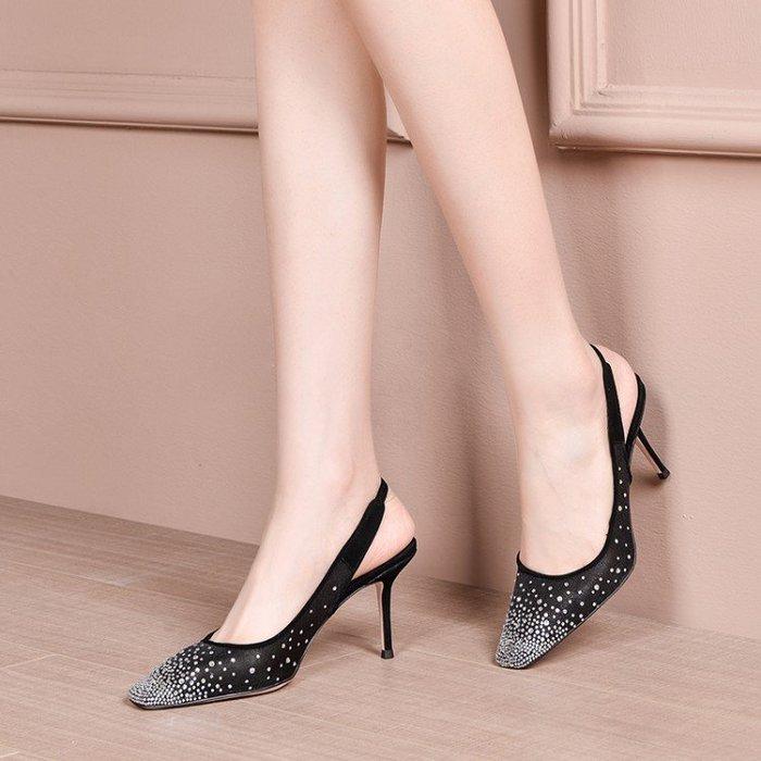 真皮 2020春夏新款包頭單鞋水鑽細高跟涼鞋 HKA 067