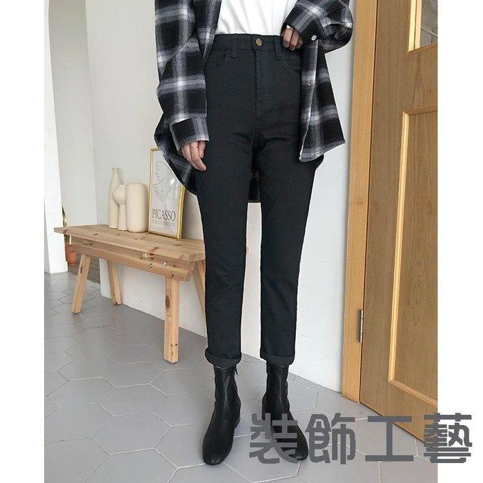 黑色緊身牛仔褲韓版彈力修身顯瘦高腰小腳褲復古直筒錐形褲