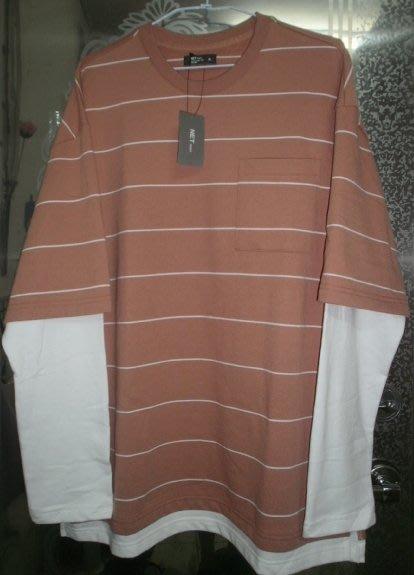 Net◎全新◎有吊牌◎男女(XL) 可可雙色長袖休閒風T恤 / 休閒衫 /上衣◎一件390元.