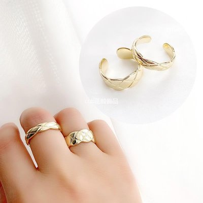 cub正韓飾品歐美網紅復古菱格波浪邊簡約冷淡風裝飾配飾ins潮時尚個性戒指女