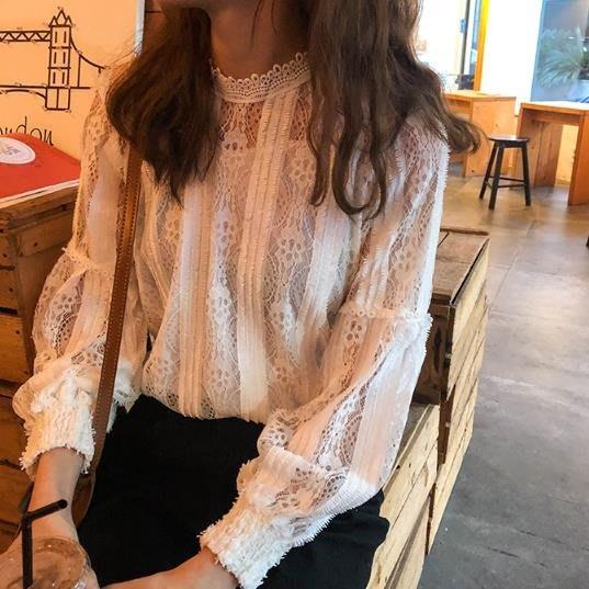 秋冬季韓版女裝蕾絲鉤花鏤空泡泡袖襯衫百搭長袖氣質打底衫襯衣