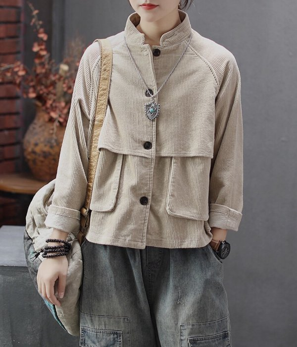 長袖 口袋 黃色 藍色 米色 短外套 ~ K103