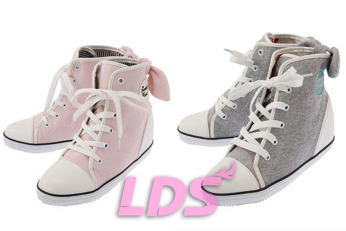 SHINY SPO 獨家代理日本品牌 L.D.S 休閒甜美高筒後蝴蝶結綴飾內增高休閒鞋