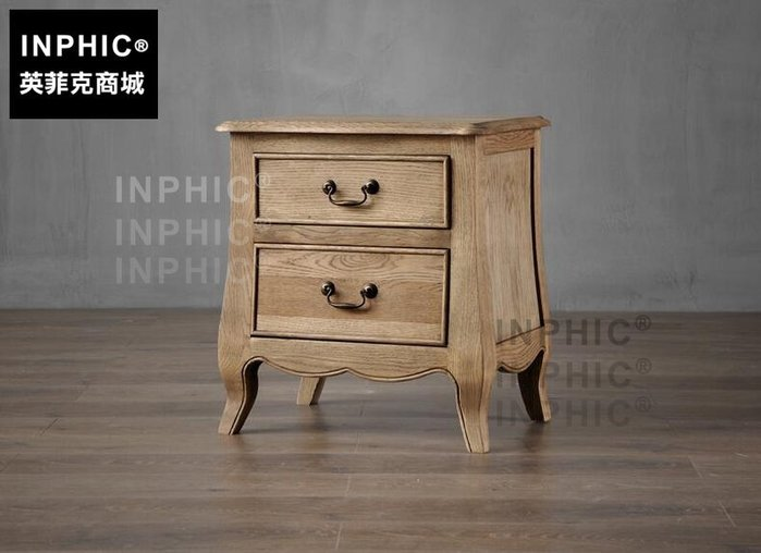 INPHIC-法式兩抽色床頭櫃 橡木實木框歐美鄉村田園風臥室角櫃_S1910C