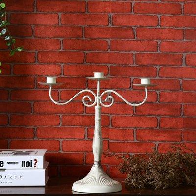 歐式宮廷貴族風精緻圓弧曲線型3頭格蠟燭...