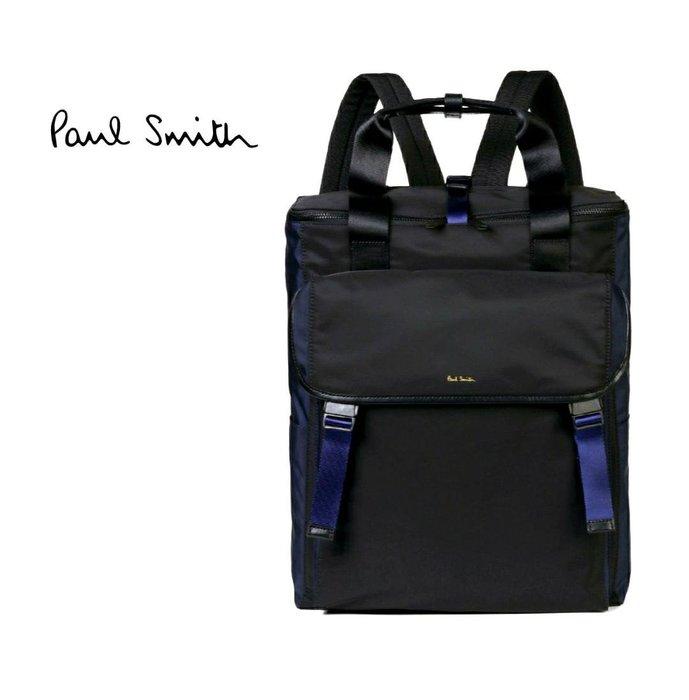 Paul Smith ► ( 黑色×寶藍色 )  防水尼龍後背包 中性款|100%全新正品|特價!
