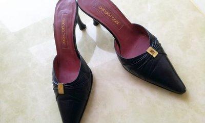 義大利頂級精品鞋SERGIO ROSSI  黑色小羊皮金屬Logo包頭拖鞋