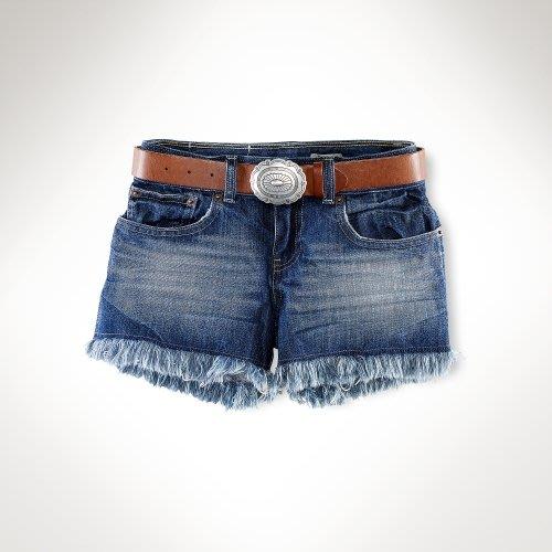 Polo Ralph Lauren 女孩鬚鬚褲管刷白牛仔短褲(5Y) (30031) ~全新正品