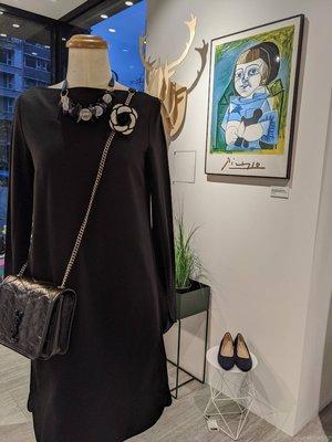 [ RainDaniel ] COS 瑞典時尚品牌 極簡黑 七分袖 平口/ 一字領洋裝